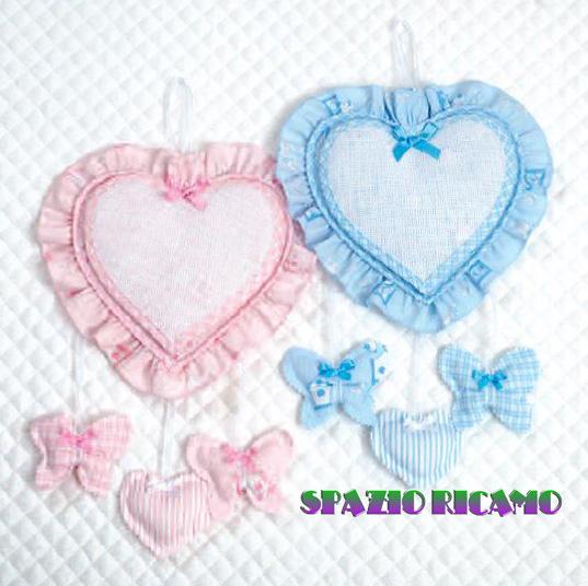Fiocco Nascita Azzurro Con Farfalle Spazio Ricamo